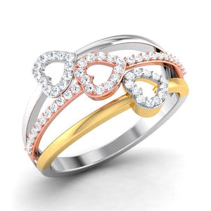 Three Hearts Platinum & Diamond Ring JL PT 553 for Women Perspective View Platinum, One heart is in Yellow rhodium & another is in Pink Gold Rhodium How the ring looks in  perspective view