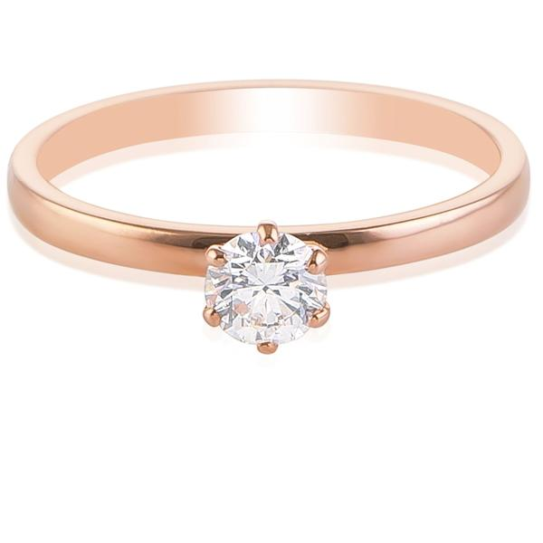 30 Pointer Classic 6 Prong Solitaire Ring made in 18K Rose Gold JL AU 12