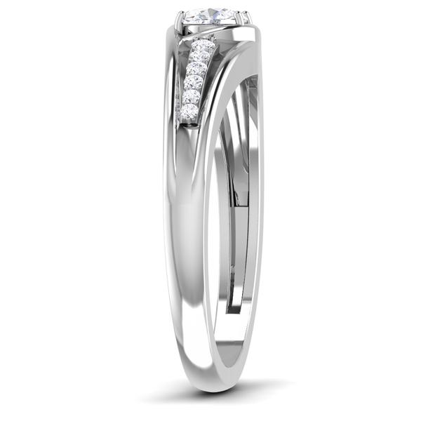 Side View of 30 Pointer Platinum Shank Diamond Solitaire Engagement Ring JL PT 6999