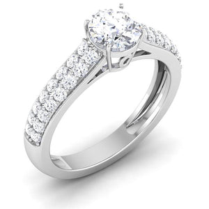 Perspective View of 30 Pointer Platinum Double Shank Diamond Solitaire Engagement Ring JL PT 6989