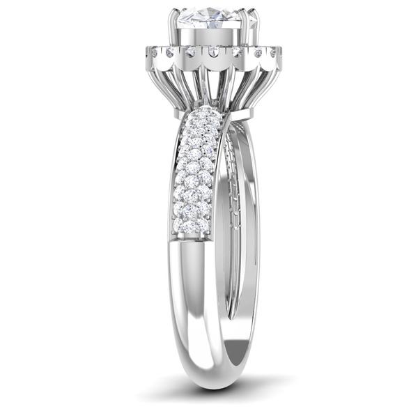 Side View of 30 Pointer Platinum Shank Halo Diamond Solitaire Engagement Ring JL PT 7006