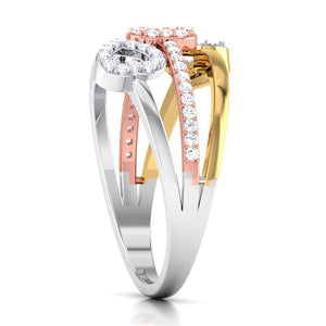 Three Hearts Platinum & Diamond Ring JL PT 553 for Women Perspective View Platinum, One heart is in Yellow rhodium & another is in Pink Gold Rhodium. How the ring looks when seen from the side.