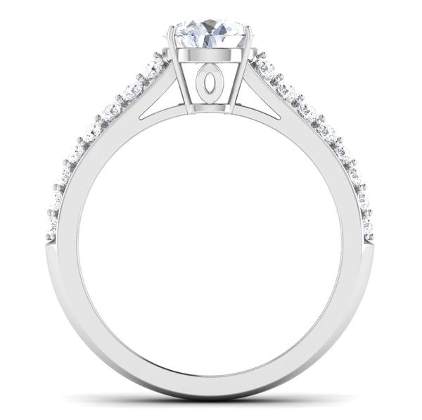 Circle View of 30 Pointer Platinum Double Shank Diamond Solitaire Engagement Ring JL PT 6989