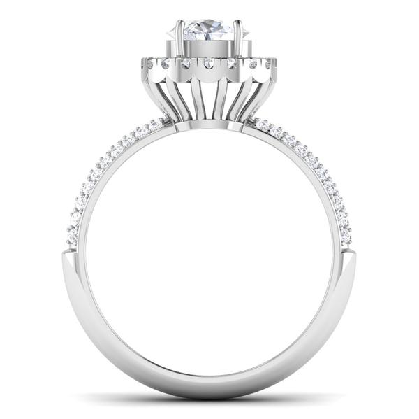 Circle View of 30 Pointer Platinum Shank Halo Diamond Solitaire Engagement Ring JL PT 7006