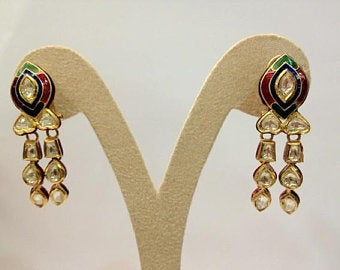 Unround Tricolor Chandelier Earrings by Jewelove