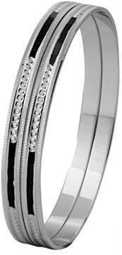 Platinum Bangle with Diamond Cut and Black Enamel SJ PTB 318