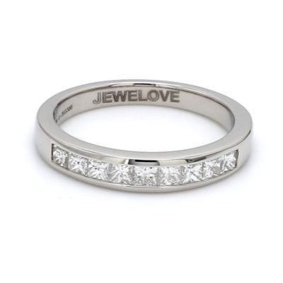 Front View of Half Eternity Princess Cut Diamond Platinum Wedding Band set in Channel Setting JL PT 580