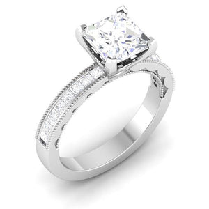Perspective View of 30 Pointer Platinum Shank Princes Cut Diamond Solitaire Engagement Ring JL PT 6605