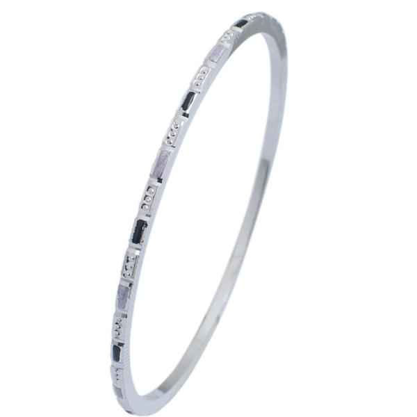Thin Platinum Bangles with Alternate Enamel & Round Cut Diamond Texture JL PTB 629