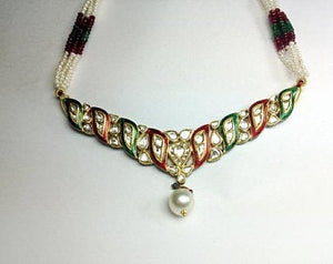 Price Point Red and Green Enamel Necklace Set by Jewelove