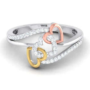 Designer Tripe Heart Platinum Ring Multicolor Gold with Diamonds JL PT 556 by Jewelove. One heart is in pink rhodium, second is in yellow rhodium & the third is in platinum DOC-R8149-P