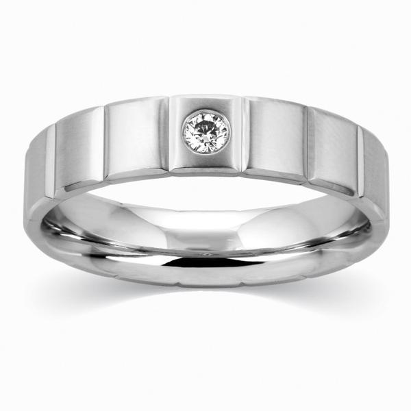 Grooved Platinum Ring for Men with 0.08 cts. Single Diamond JL PT 521