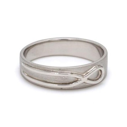Side View of Plain Infinity Knot Platinum Love Bands SJ PTO 115