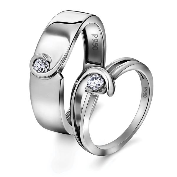 Single Diamond Platinum Love Bands - Twists & Turns of Life JL PT 620