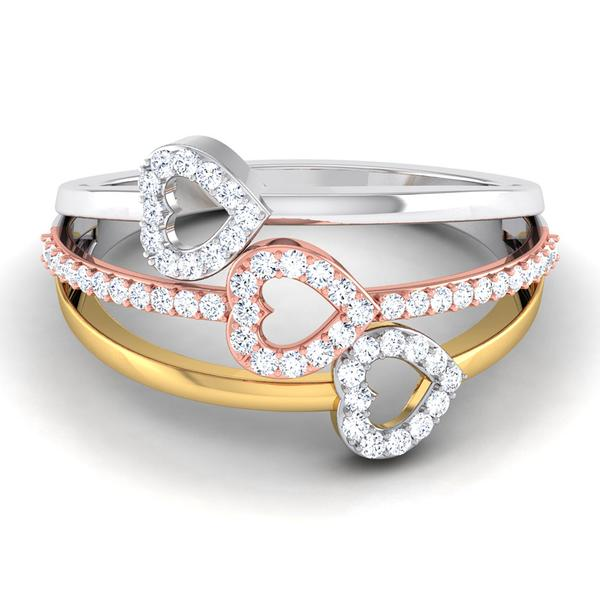 Three Hearts Platinum & Diamond Ring JL PT 553 for Women Perspective View Platinum, One heart is in Yellow rhodium & another is in Pink Gold Rhodium