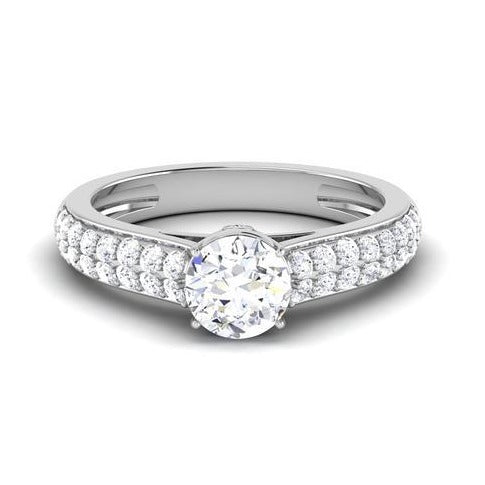 Front View of 30 Pointer Platinum Double Shank Diamond Solitaire Engagement Ring JL PT 6989