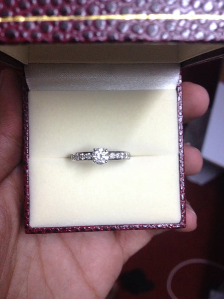 4 Prong Solitaire Engagement Ring with Diamond Accents made in Platinum JL PT 415 in India