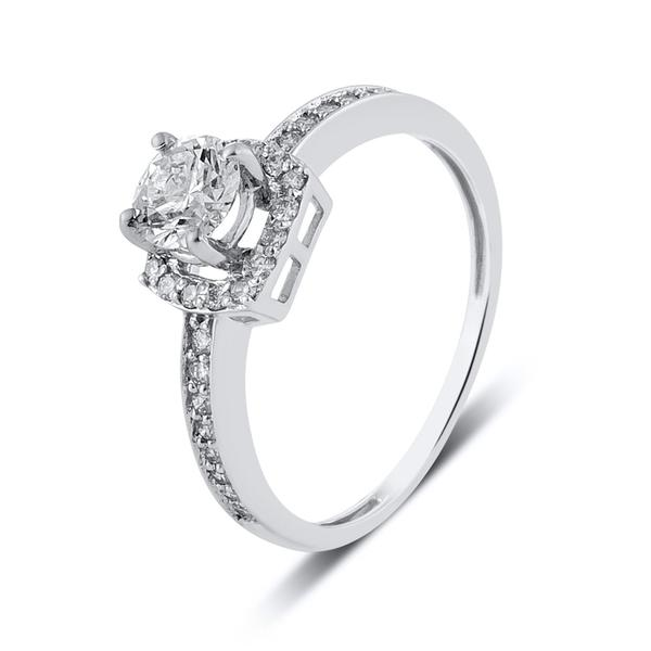 Beautiful Designer Platinum Solitaire Ring for Women with a raised solitaire. This photo shows the ring's overall look from different angles.