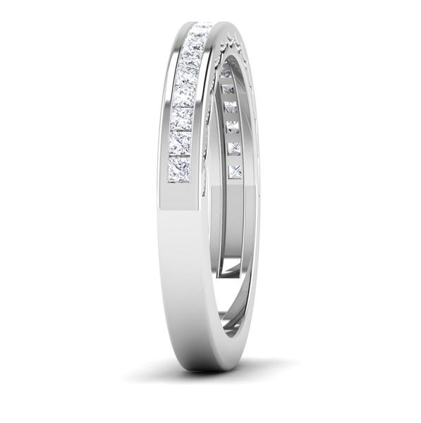 Side View of Designer Half Eternity Platinum Wedding Band with Diamonds JL PT 6764