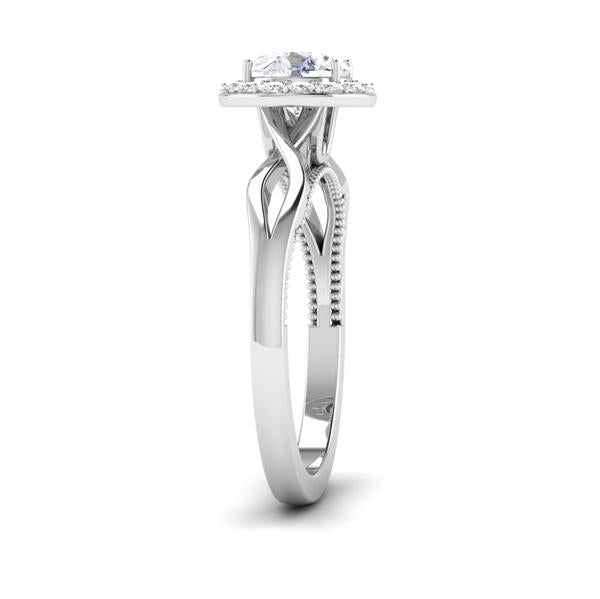 Side View of 30 Pointer Halo Platinum Solitaire Engagement Ring JL PT 6579