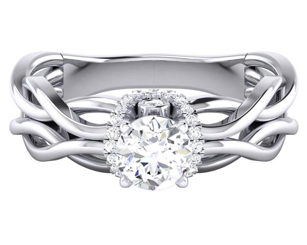 High Design Solitaire Engagement Ring with a Twist JL PT 515