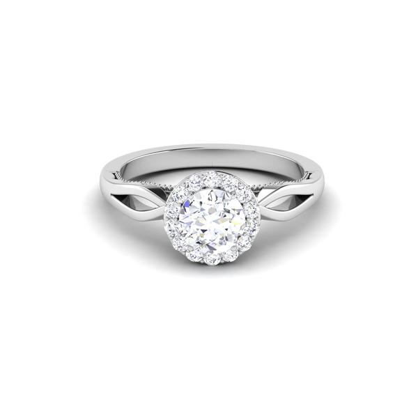 Front View of 30 Pointer Halo Platinum Solitaire Engagement Ring JL PT 6579