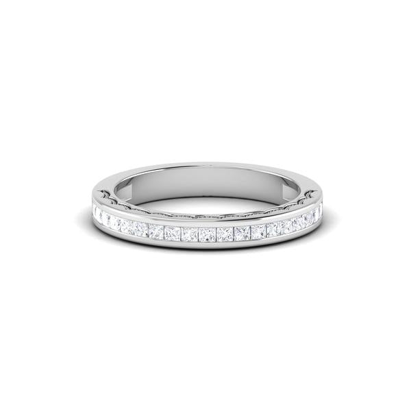 Designer Princess Cut Half Eternity Platinum Wedding Ring JL PT 6764