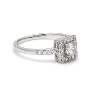 Side View of 30 Pointer Square Halo Diamond Shank Platinum Engagement Ring JL PT 617
