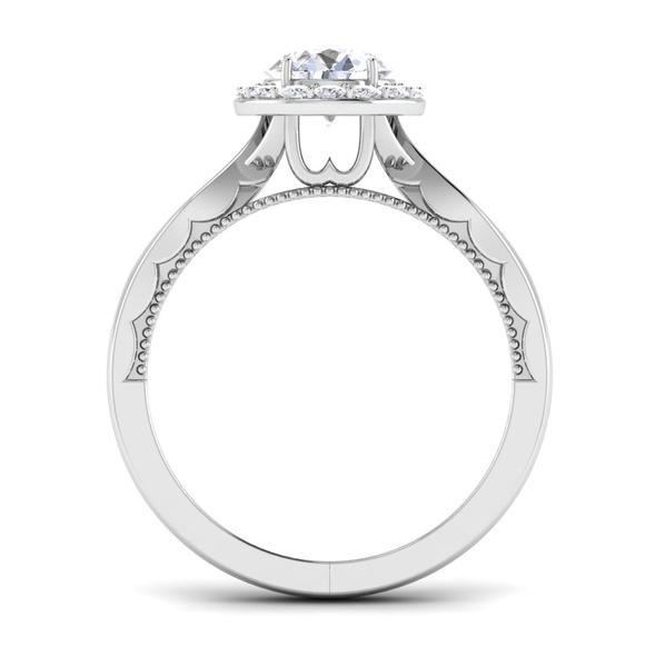 Circle View of 30 Pointer Halo Platinum Solitaire Engagement Ring JL PT 6579