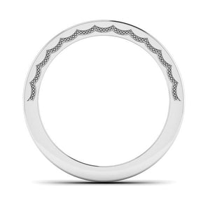 Front View of Designer Half Eternity Platinum Wedding Band with Diamonds JL PT 6764