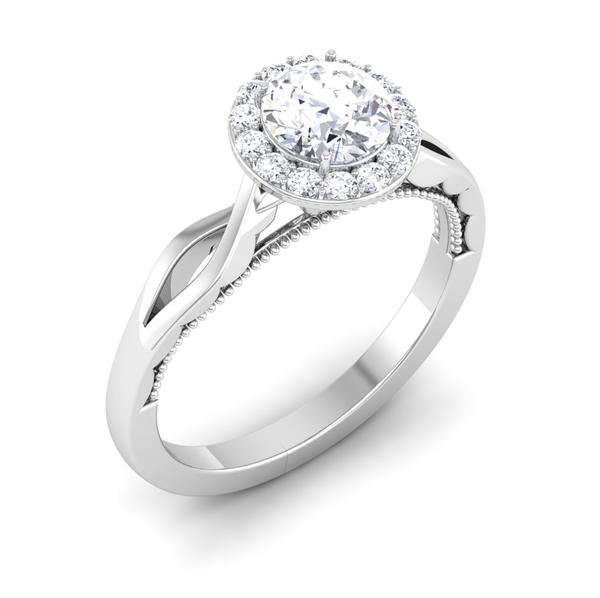 Perspective View of 30 Pointer Halo Platinum Solitaire Engagement Ring JL PT 6579
