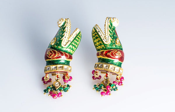 Crocodile Earrings with Enamel SKU 6 by Suranas Jewelove in India