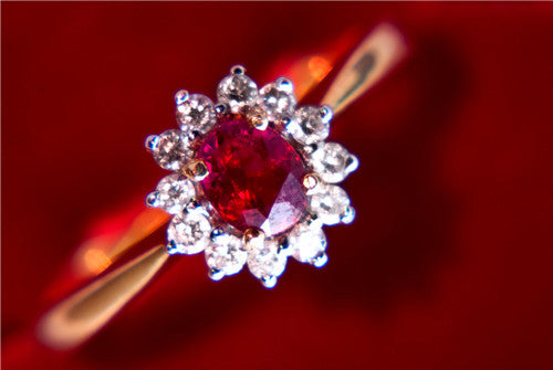 Burmese Ruby & Diamond Flower Ring JL R 61 in India