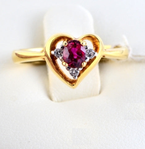 Burmese Ruby & Diamond Heart Ring JL R 62 in India