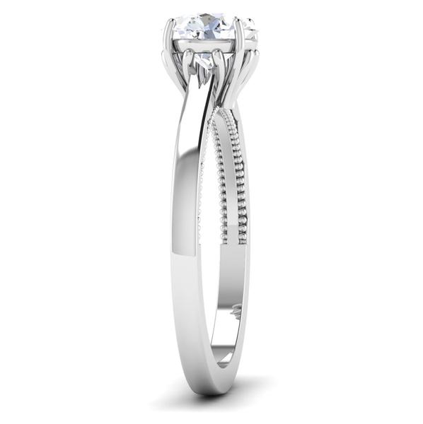 Side View of 30 Pointer Platinum Solitaire Engagement Ring JL PT 6586