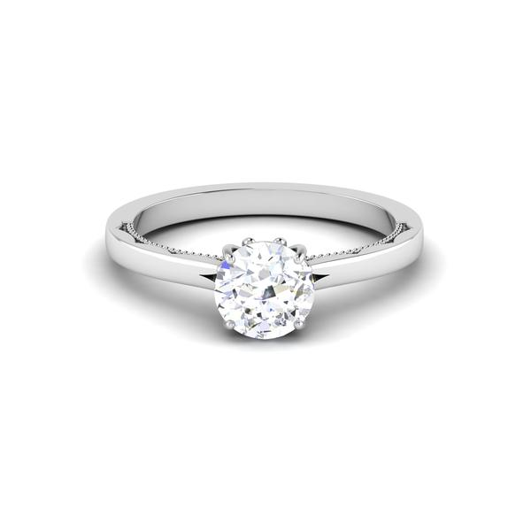 Front View of 30 Pointer Platinum Solitaire Engagement Ring JL PT 6586