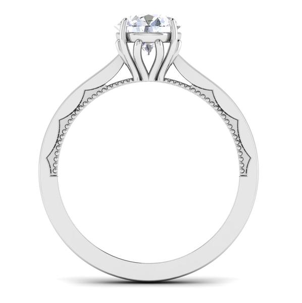 Circle View of 30 Pointer Platinum Solitaire Engagement Ring JL PT 6586
