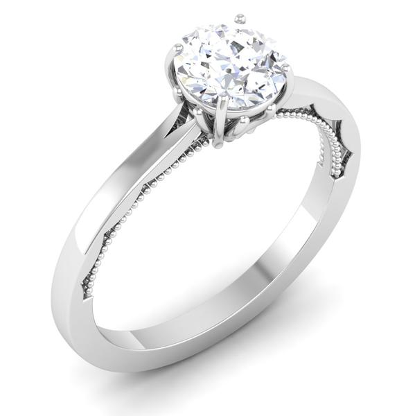 Perspective View of 30 Pointer Platinum Solitaire Engagement Ring JL PT 6586