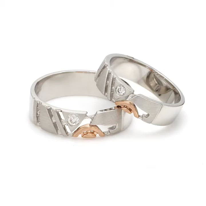 Customised Platinum & Rose Gold Couple Rings with Single Diamonds