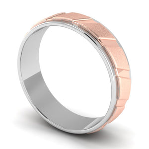 Perspective View of Designer Platinum & Rose Gold Couple Rings with Slanting Grooves JL PT 639