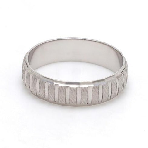Back View of Plain Platinum Ring with Textured Blocks for Men JL PT 619