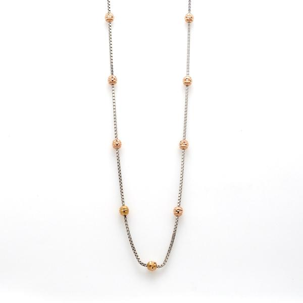 Platinum Chain with Rose Gold Balls JL PT 738