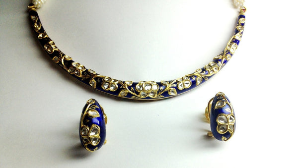 Blue color Meena Hasli with Uncut Diamond Polki in India