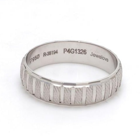 Front View of Plain Platinum Ring with Textured Blocks for Men JL PT 619
