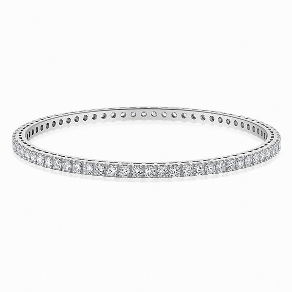 7 Pointer Single Line Diamond Bangle in Platinum JL PTB 616 in India