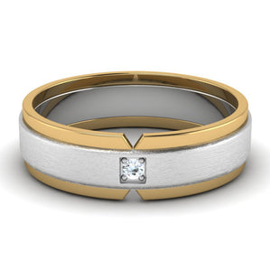 Front View of Single Diamond Platinum & Yellow Gold Fusion Couple Rings JL PT 641.
