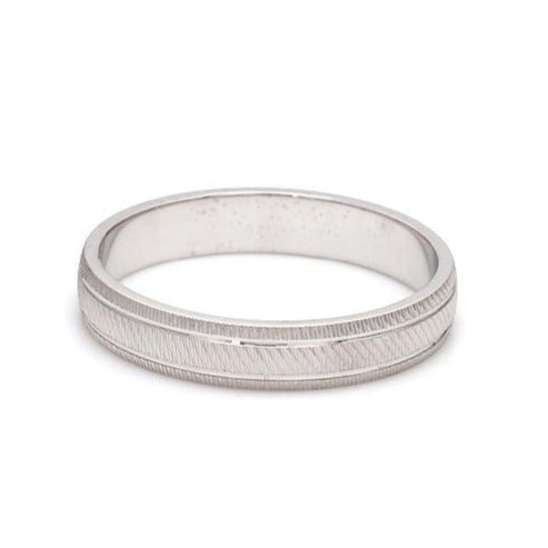 Textured Plain Platinum Ring with Grooves for Men JL PT 618