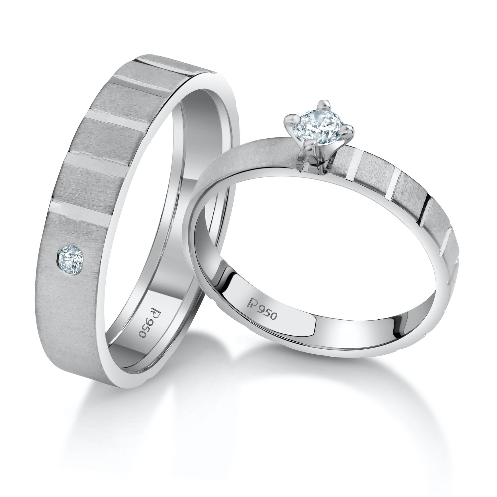 A Mighty Match Matte Finish Platinum Couple Rings with Single Diamonds JL PT 953