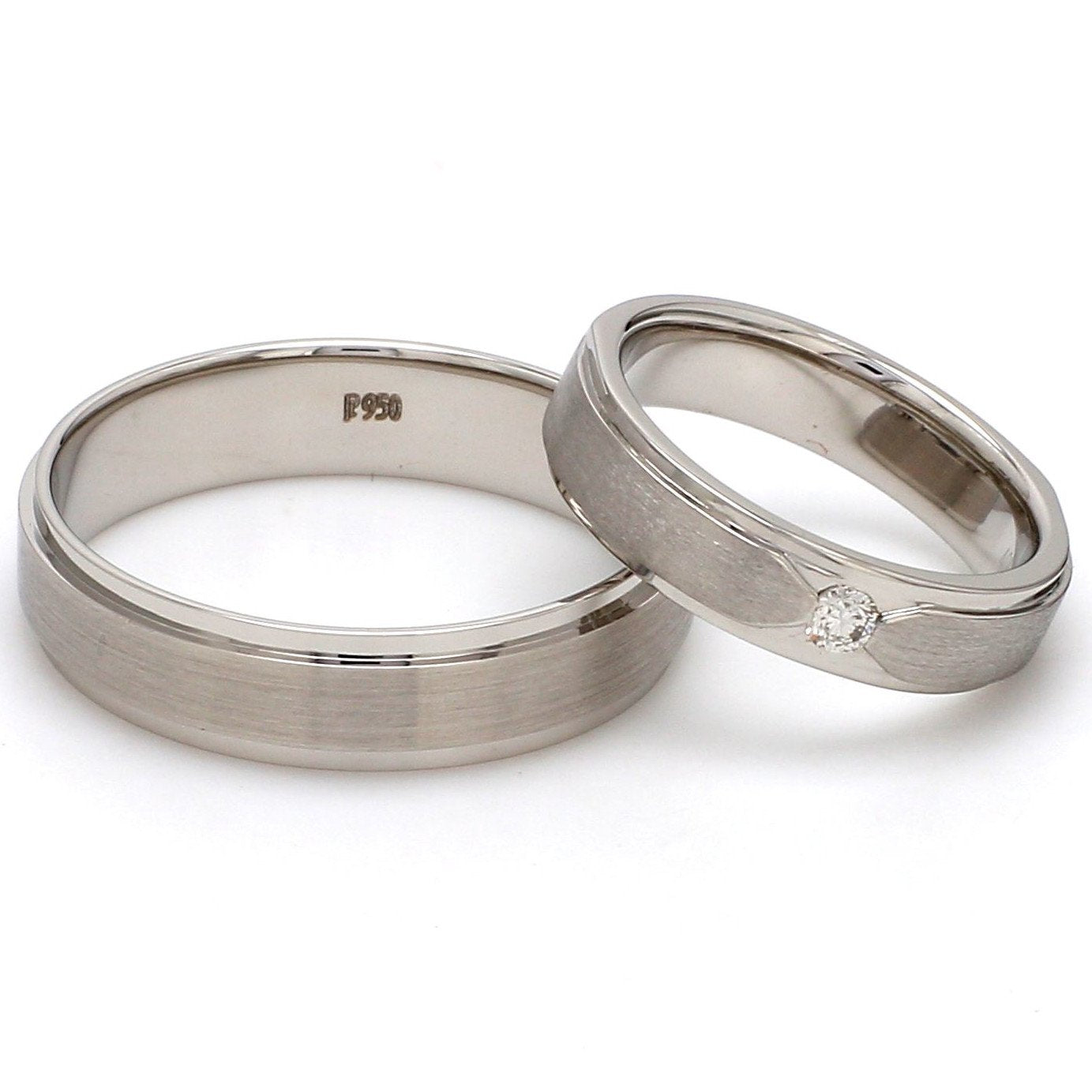 Front View of Elegant Platinum Love Bands with Matte Finish JL PT 529