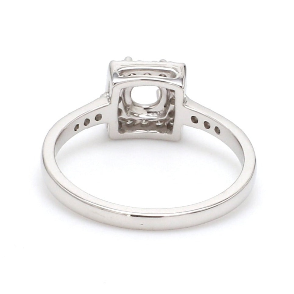 Back View of 30 Pointer Square Halo Diamond Shank Platinum Engagement Ring JL PT 617